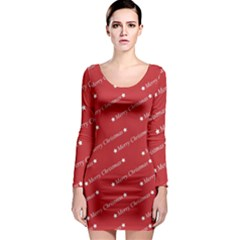 Christmas Paper Background Greeting Long Sleeve Bodycon Dress
