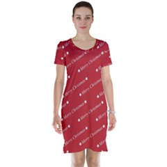 Christmas Paper Background Greeting Short Sleeve Nightdress