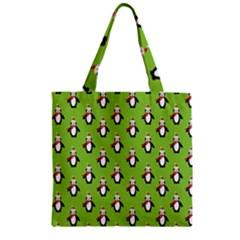 Christmas Penguin Penguins Cute Zipper Grocery Tote Bag