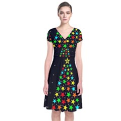Christmas Time Short Sleeve Front Wrap Dress