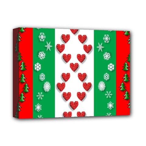 Christmas Snowflakes Christmas Trees Deluxe Canvas 16  x 12