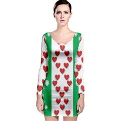 Christmas Snowflakes Christmas Trees Long Sleeve Bodycon Dress