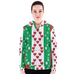 Christmas Snowflakes Christmas Trees Women s Zipper Hoodie