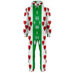 Christmas Snowflakes Christmas Trees Hooded Jumpsuit (Men)