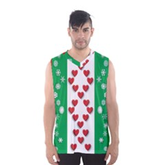Christmas Snowflakes Christmas Trees Men s Basketball Tank Top