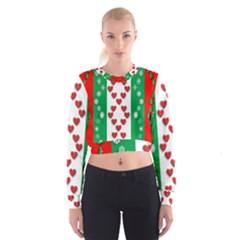 Christmas Snowflakes Christmas Trees Women s Cropped Sweatshirt