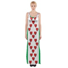 Christmas Snowflakes Christmas Trees Maxi Thigh Split Dress