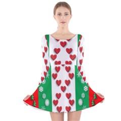 Christmas Snowflakes Christmas Trees Long Sleeve Velvet Skater Dress