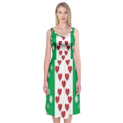 Christmas Snowflakes Christmas Trees Midi Sleeveless Dress