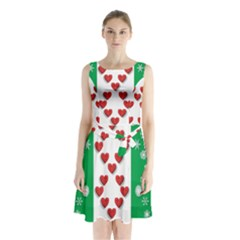Christmas Snowflakes Christmas Trees Sleeveless Chiffon Waist Tie Dress
