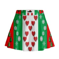 Christmas Snowflakes Christmas Trees Mini Flare Skirt