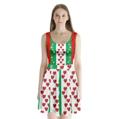 Christmas Snowflakes Christmas Trees Split Back Mini Dress
