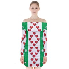 Christmas Snowflakes Christmas Trees Long Sleeve Off Shoulder Dress