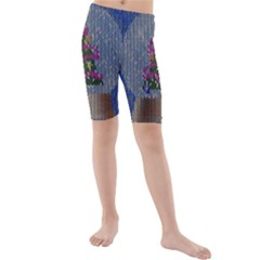 Christmas Snow Kids  Mid Length Swim Shorts