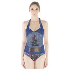 Christmas Snow Halter Swimsuit