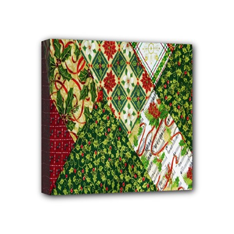 Christmas Quilt Background Mini Canvas 4  x 4