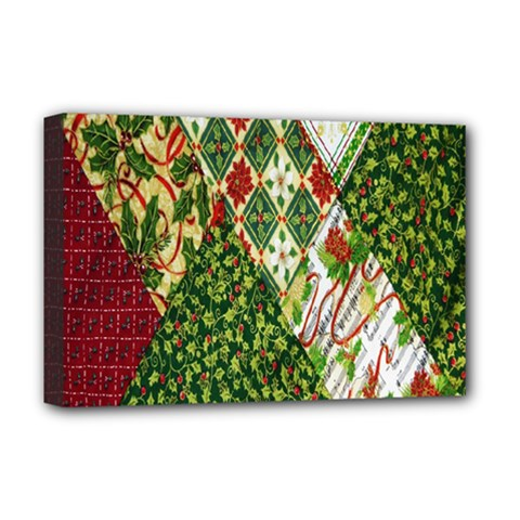 Christmas Quilt Background Deluxe Canvas 18  x 12