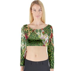 Christmas Quilt Background Long Sleeve Crop Top