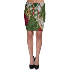 Christmas Quilt Background Bodycon Skirt