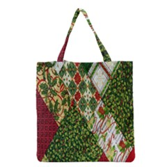 Christmas Quilt Background Grocery Tote Bag
