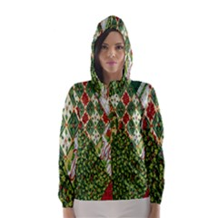 Christmas Quilt Background Hooded Wind Breaker (women)