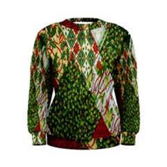 Christmas Quilt Background Women s Sweatshirt
