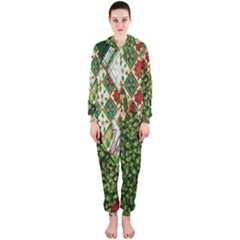 Christmas Quilt Background Hooded Jumpsuit (Ladies)