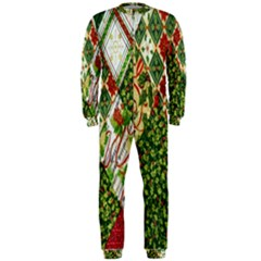 Christmas Quilt Background OnePiece Jumpsuit (Men)