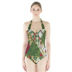 Christmas Quilt Background Halter Swimsuit