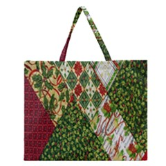 Christmas Quilt Background Zipper Large Tote Bag