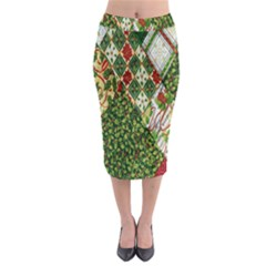 Christmas Quilt Background Midi Pencil Skirt