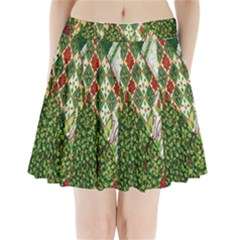 Christmas Quilt Background Pleated Mini Skirt