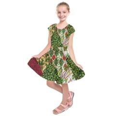Christmas Quilt Background Kids  Short Sleeve Dress