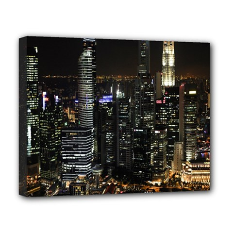 City At Night Lights Skyline Deluxe Canvas 20  x 16