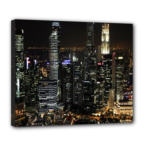 City At Night Lights Skyline Deluxe Canvas 24  x 20
