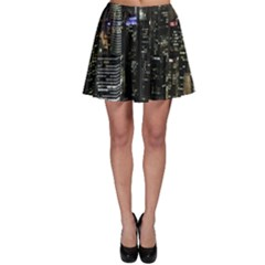 City At Night Lights Skyline Skater Skirt