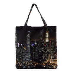 City At Night Lights Skyline Grocery Tote Bag