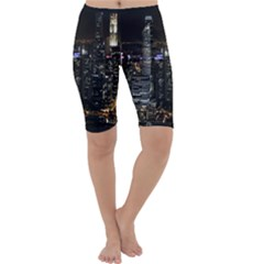 City At Night Lights Skyline Cropped Leggings