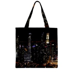 City At Night Lights Skyline Zipper Grocery Tote Bag