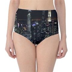 City At Night Lights Skyline High-Waist Bikini Bottoms