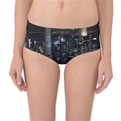 City At Night Lights Skyline Mid-Waist Bikini Bottoms