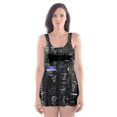 City At Night Lights Skyline Skater Dress Swimsuit