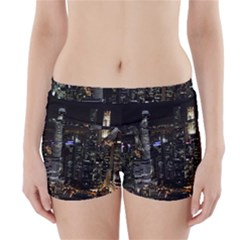 City At Night Lights Skyline Boyleg Bikini Wrap Bottoms