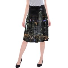 City At Night Lights Skyline Midi Beach Skirt