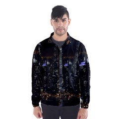 City At Night Lights Skyline Wind Breaker (men)