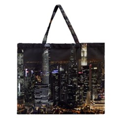City At Night Lights Skyline Zipper Large Tote Bag