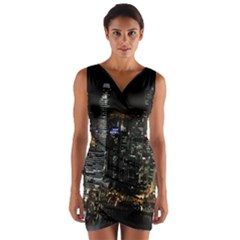 City At Night Lights Skyline Wrap Front Bodycon Dress