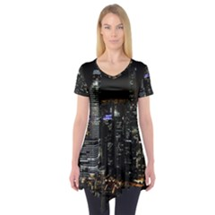 City At Night Lights Skyline Short Sleeve Tunic