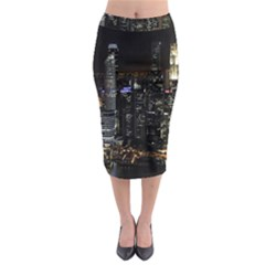 City At Night Lights Skyline Midi Pencil Skirt