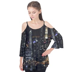 City At Night Lights Skyline Flutter Tees